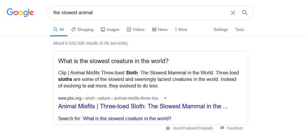 Google search for slowest animal